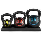 Fitness Equipment - Best Choice Products 3-Piece Fitness HDPE Kettlebell Weights Set